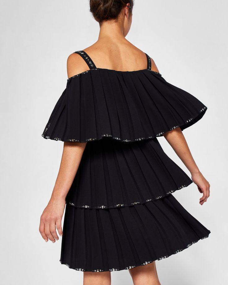Embellished pleated tiered dress - Black | Dresses | Ted Baker UK