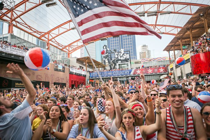 USAvPOR World Cup Watch Party at Kansas City Power and Light District.