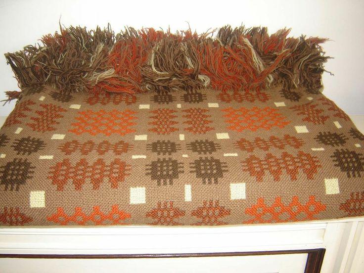 Vintage Large Welsh Wool Blanket CAMBRIAN MILLS LLANDYSSUL Rustic Colours