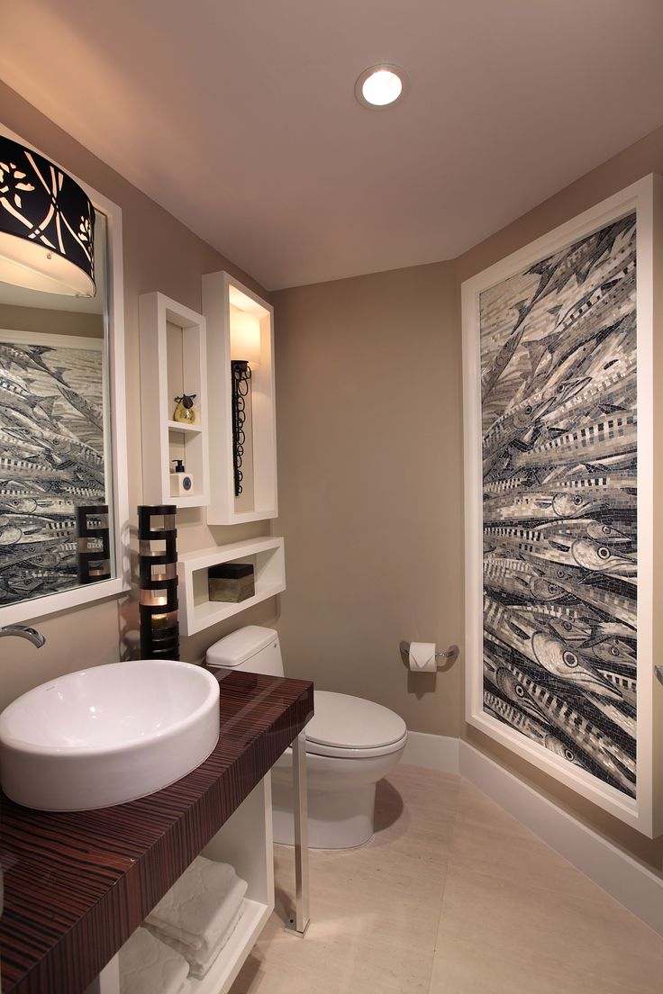 Stunning Powder Room Project In Hollywood Fl Using Hakatai For The Mosaic Wall Condominium Design Kitchen And Bath Remodeling Glass Tile Bathroom [ 1104 x 736 Pixel ]