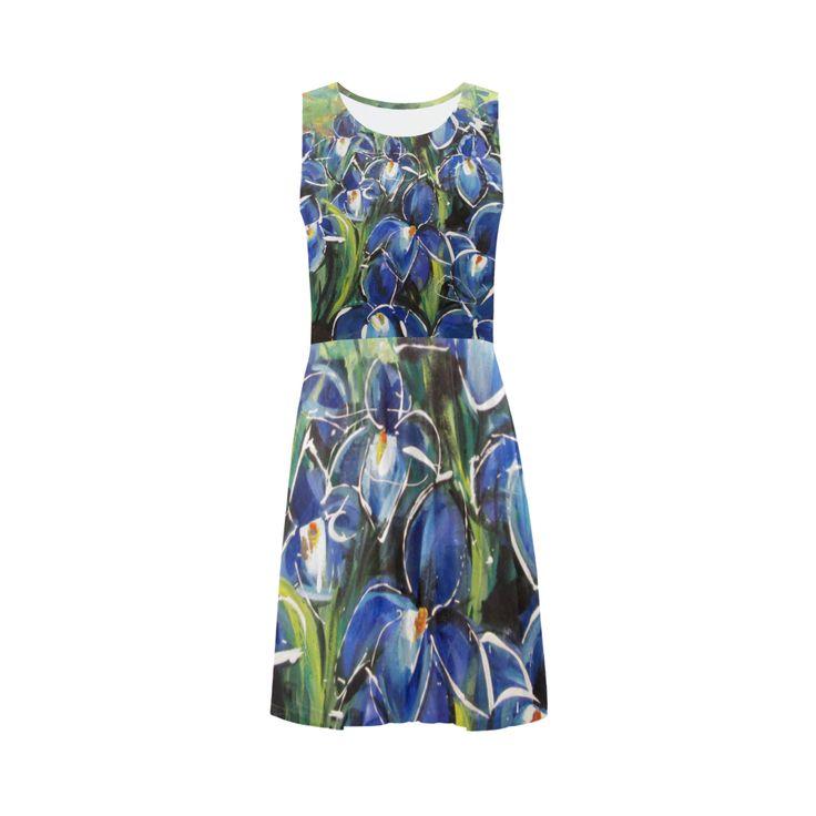 Blue Irises Sleeveless Ice Skater Dress (D19)
