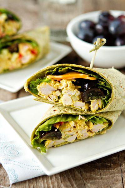 Curried Chicken Salad Wraps #glutenfree(use gluten-free tortillas) #healthy(use yogurt instead of mayo)