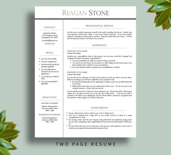 Professional Resume Template for Word AND by PrintablesByLuLu