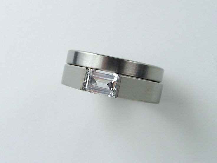 band for tension set wedding ring