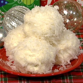 Carla's Coconut Snowballs from The Chew.     For the Coconut frosting:  4 8 oz cream cheese (room temperature)  4 tablespoons unsalted butter (room temperature)  1 1/2 cup confectioners' sugar  2 teapsoons vanilla extract  1 teaspoon coconut extract  5 cups shredded coconut