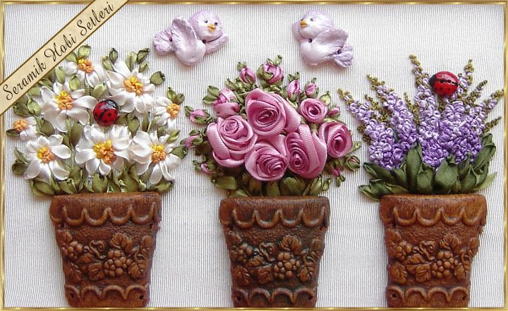 Ceramic Hobby Kits - ceramic roses - wood painting - ceramic objects for ribbon embroidery: Ribbon Embroidery Applications-3