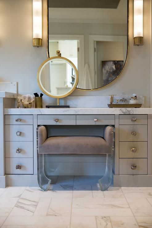 Gray Vanity with Quartz Knobs Hardware, Contemporary, Bathroom, Benjamin Moore Gray Mist