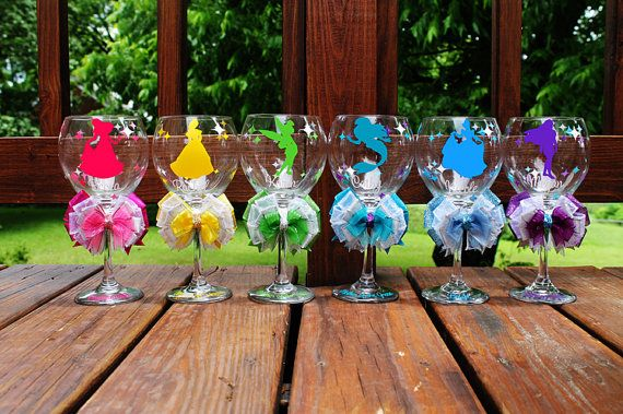 Bride/Bridesmaids Wine glasses - with wedding title, name, and fav character silhouette. Too Cute - @Pamela Cooper