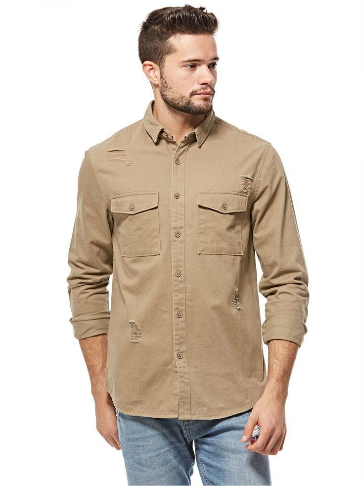 اشتري فور ايفير 21 قميص بيج قبة قميص -رجال - بلايز/ تيشيرتات | السعودية | سوق
