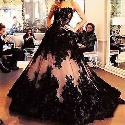 Wunderschöne Schwarz-Hochzeits-Kleid A-Linie BrautKleid 34 36 38 40 42 44 46 +++