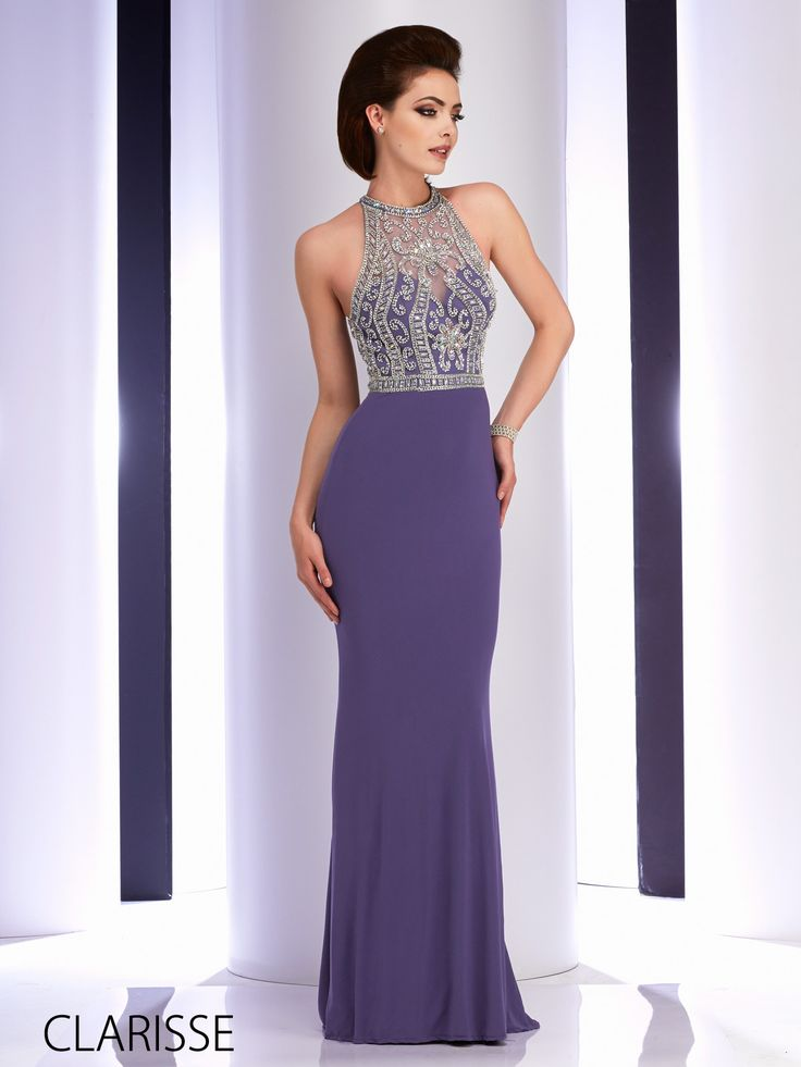Long, tight fitted and elegant sparkly silver embellished prom dress by  Clarisse. Style: