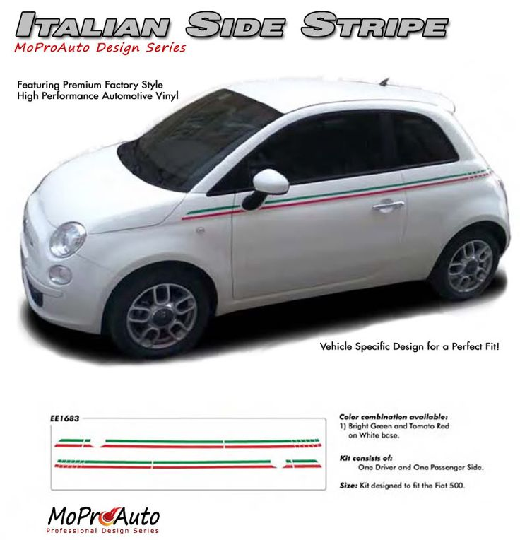 """2011 2012 2013 2014 SE 5 ITALIAN STRIPE : Fiat 500 Vinyl Graphics Kit Vinyl Graphics Decals Striping Kit """"Factory OEM Style"""" with Professional Automotive Vinyl at a Discount Price!"""