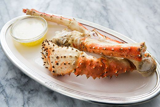 Alaskan King Crab steamed briefly and served with melted butter.