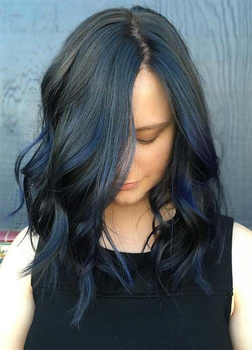 Blue Denim Hair Colors: Black & Blue Balayage
