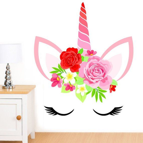 Unicorn Face With Flowers Mural Wall