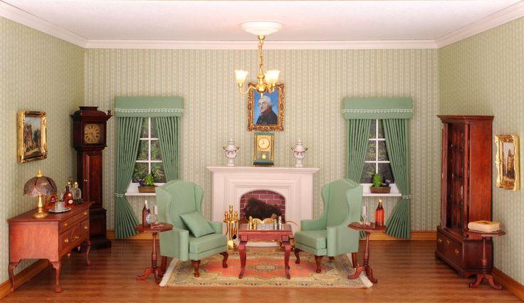 Das Kaminzimmer im Chippendale Stil, eingerichtet mit originalgetreuen Möbelbausätzen von MINI MUNDUS - Ihr Haus braucht Wärme und Gemütlichkeit! Was gibt es Schöneres als einen knisternden Kamin bei behaglicher Wärme? Das elegante Kaminzimmer ist das Highlight ihres Hauses! Vergessen Sie bei Ihrem Einkaufsbummel nicht die echt vergoldeten Kamingitter und Kaminbestecke, inklusive Flackerfeuer, aus unserem Miniatur Möbelhaus im Online Shop. Damit es Ihnen im Herz und rundherum warm wird!