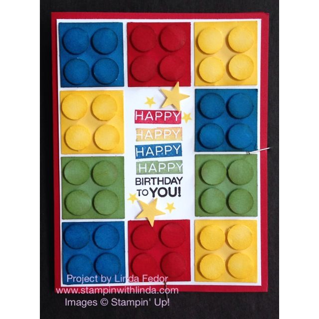 Amazing Birthday Lego Card/ Stampin' Up!/ www.stampinwithlinda.com