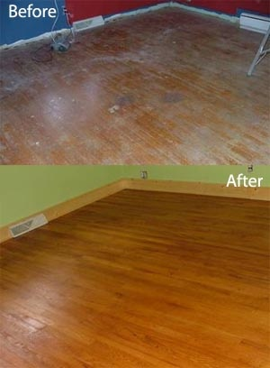Before/After floor finished with Pure Tung Oil image