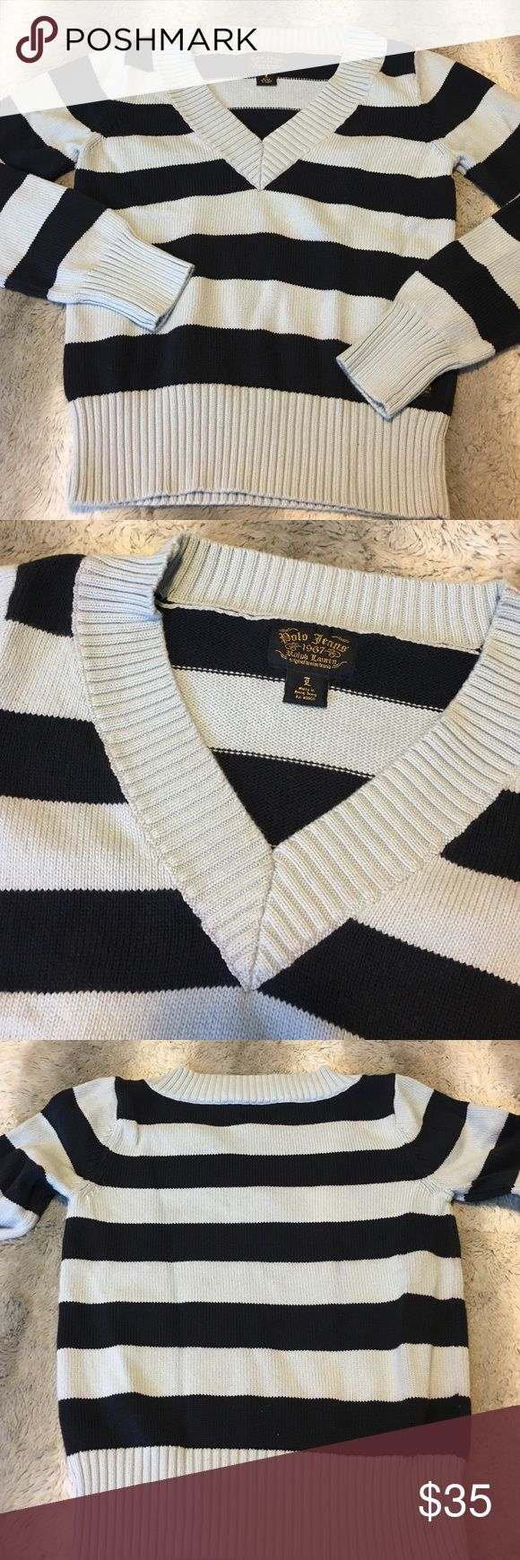 Woman's Polo Jeans Sweater Sz Large / 100% Algodon / Baby Blue and Dark blue stripe Polo by Ralph Lauren Sweaters V-Necks