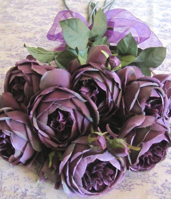 High End Dark Purple English Cabbage Roses Silk Lot of 8 ...   570 x 662 jpeg 73kB