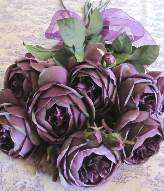 High End Dark Purple English Cabbage Roses Silk Lot of 8 ...
