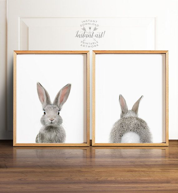 * This listing is for a set of TWO printable designs - the bunny facing forward, and the bunny butt! * * * * * * Baby Animal Printable Art from The Crown Prints * * * * * Digital files available automatically after purchase at http://www.etsy.com/your/purchases Read more about