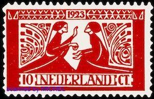 Motiv von Jan Toorop auf niederländischer Briefmarke von 1923