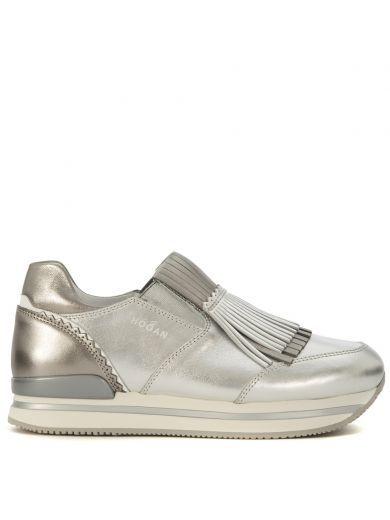 HOGAN Mocassino Hogan H222 In Pelle Laminata Argento Con Frange. #hogan #shoes #https: