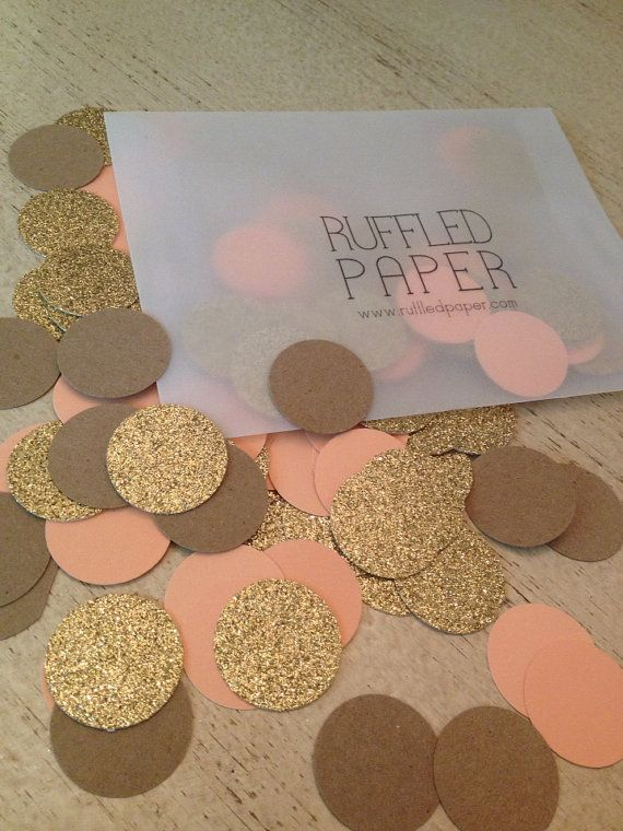 Party Confetti Gold Glitter Kraft and Coral 1 inch by RuffledPaper, $4.99