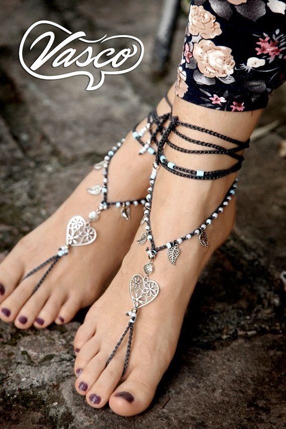 Herz Boho barfuß Sandale häkeln Hippie Schuhe Yoga von VascoDesign