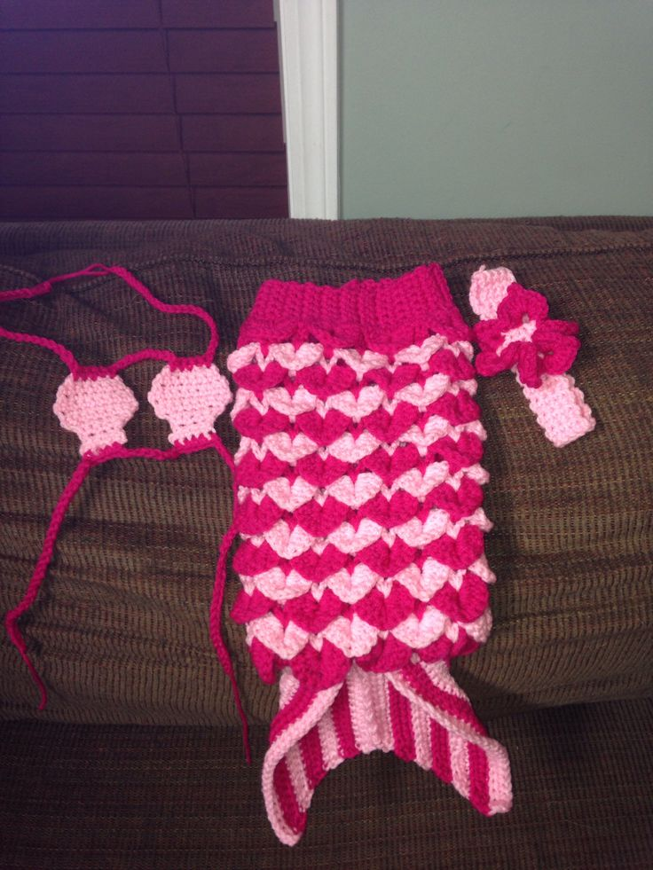 Crocheted mermaid baby cocoon.