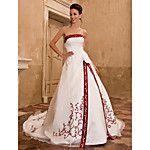 Corte en A Princesa Sin Tirantes Capilla Satén Vestido de novia con Apliques Bordado por LAN TING BRIDE® 2017 - $199.99