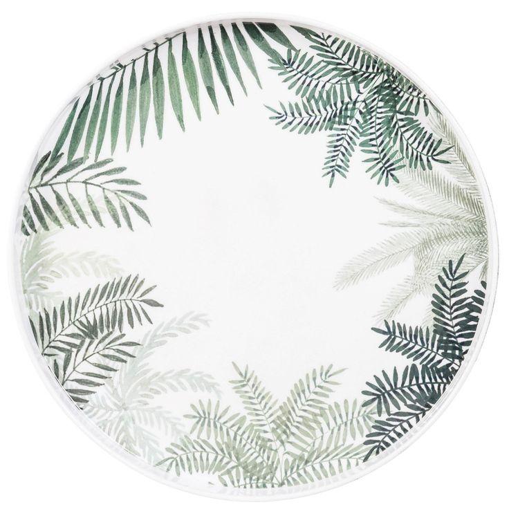 Rond plateau van wit metaal met bladerprint | Maisons du Monde