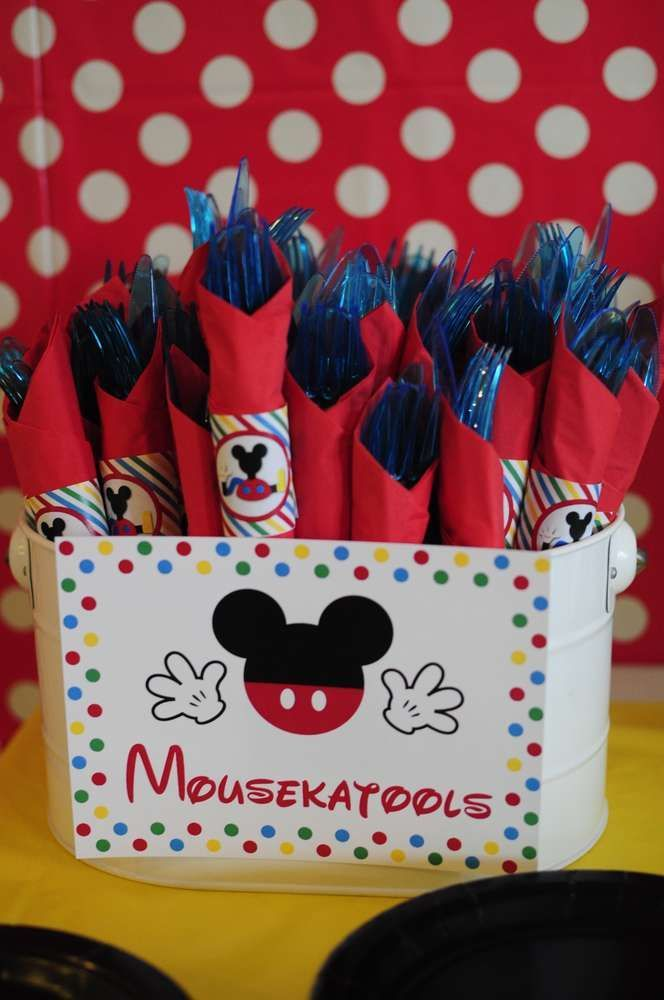 Mousekatools Sign and Napkin Wrappers - Josh's 3rd Mickey Mouse Clubhouse Celebration | CatchMyParty.com
