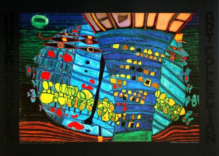 Friedensreich Hundertwasser : Blue Moon