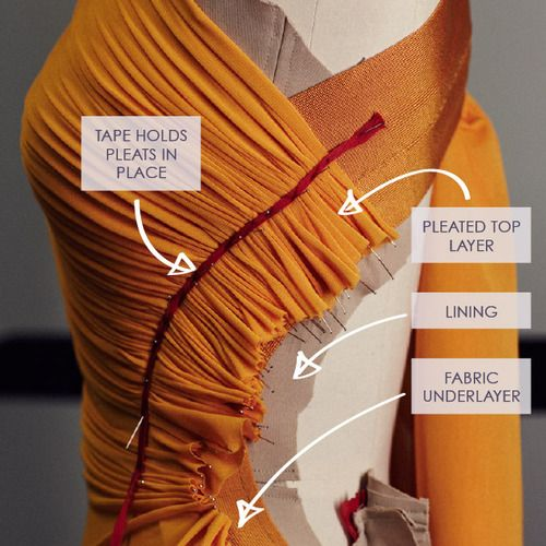 Draping and Moulage | The Cutting Class. Progress image of draping on a Hervé L. Leroux garment for couture SS13 with layers of fabric to su...
