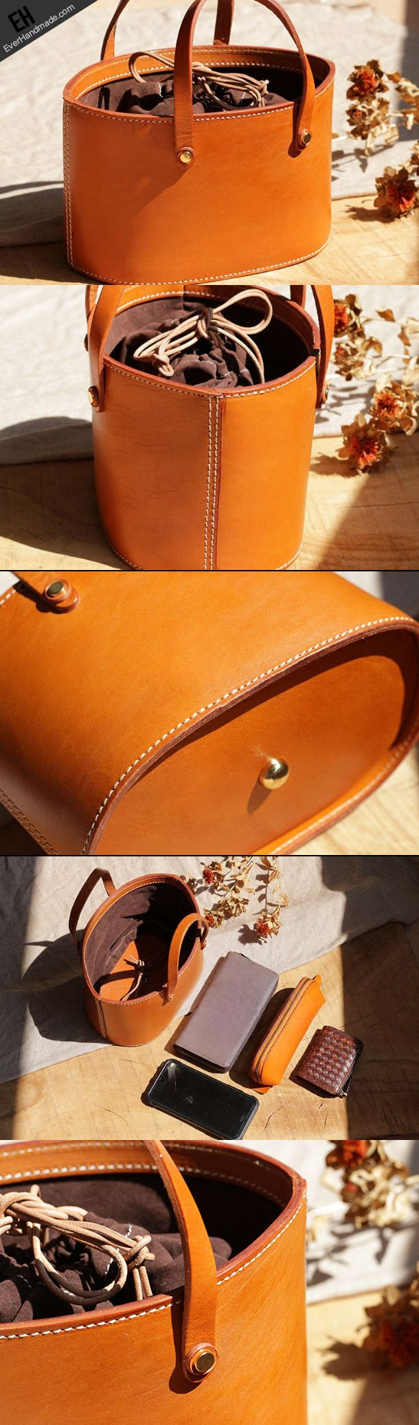Handmade Leather bucket bag shopper bag for women leather