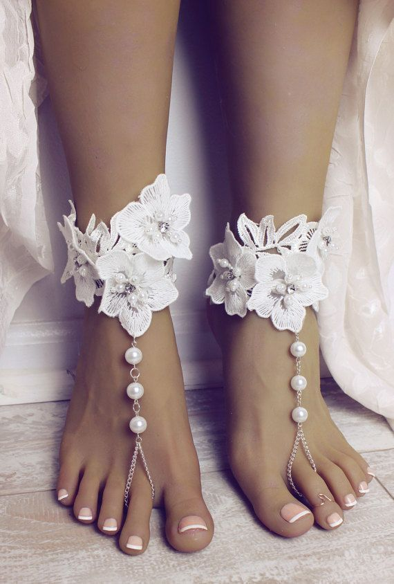 a516c3f89e23 Aloha Barefoot Sandals Foot Jewelry Lace Sandals Lace Anklet Foot Thong Destination  Wedding Shoes Beach Wedding Sandals Bridal Lace Anklet