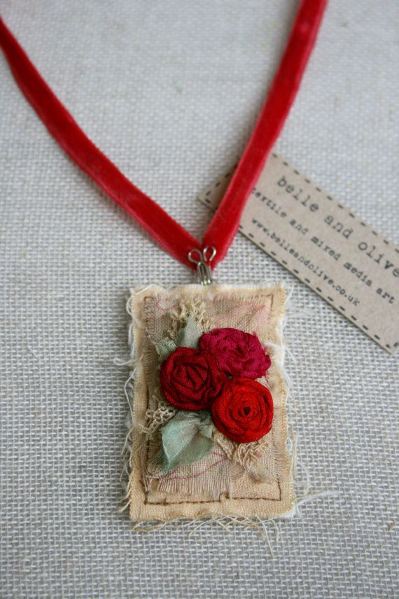 Textile Pendant Necklace Sari Silk Roses Red & by belleandolive