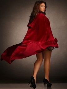 Plus Size Stretch Velvet Long Cape with Wide Ribbon, Red
