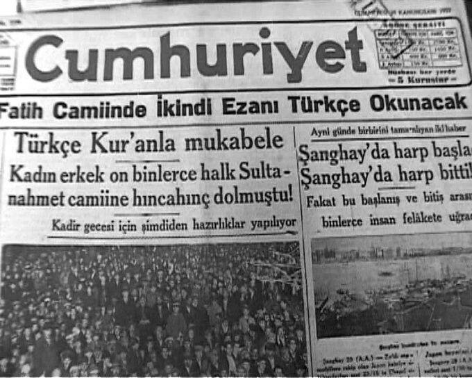 """Yunus Nadi Hindistan Müslümanlarının """"İslam Davası"""" için yolladığı parayla kurulan @cumhuriyetgzt 'de """"Türkçe Ezanı"""" savunmuştur."""