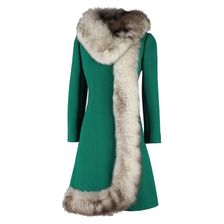 Vintage 1960's Green Wool Silver Fox Fur Coat   From a collection of rare vintage coats and outerwear at http://www.1stdibs.com/fashion/clothing/coats-outerwear/