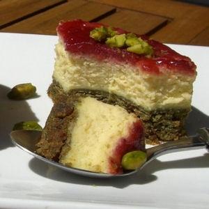 Cheesecake pistache et framboise © Audrey Doret