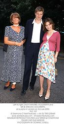 Left to right, LADY ANNABEL GOLDSMITH and MR & MRS ZAC GOLDSMITH, at a party in London on 3rd July 2003.<br /> PLC 107