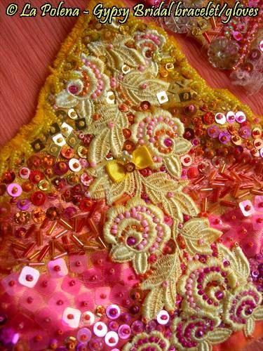 SUNSET GYPSY BRIDAL textile bracelet beaded lace by LaPolena
