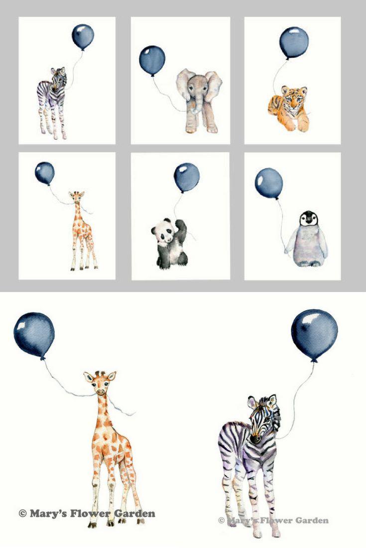 Nursery print set, set of six, Navy nursery, boys wall art, baby boy nursery, watercolor nursery, baby animal art, safari nursery prints, #boy #baby #nursery #babyboynursery #gift #decor #art #wallart #animals #balloons #blue #zoo #affiliate