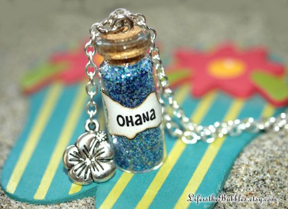 Lilo and Stitch OHANA Family Magic Necklace with a Flower Charm by Life is the Bubbles