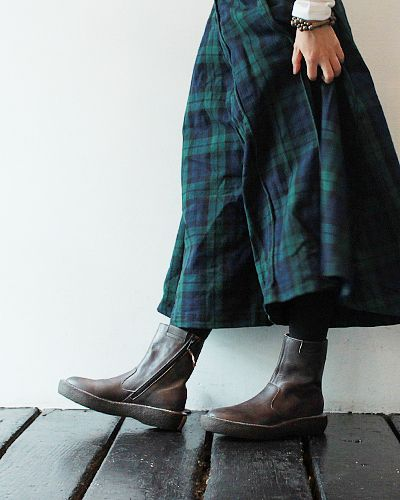 Black Watch tartan and [KAPITAL] Oiled Leather POPEYE Boots