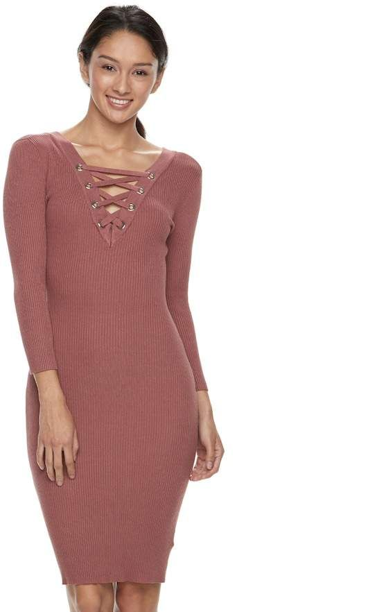 Almost Famous Juniors Almost Famous Ribbed Lace Up Sweater Dress