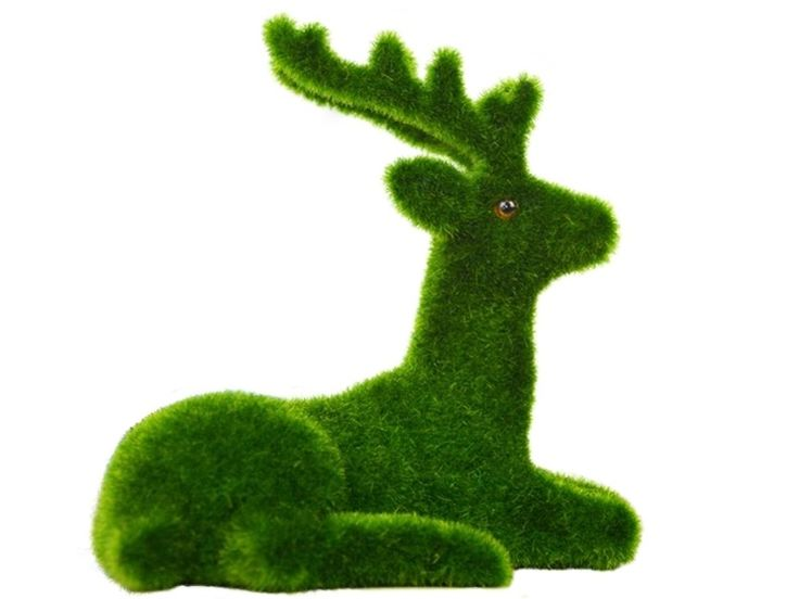 B0436 - Christmas Reindeer Laying Artificial Grass Animal Statue - 2 - B0436 - Christmas Reindeer Laying Artificial Grass Animal Statue - 2.jpg